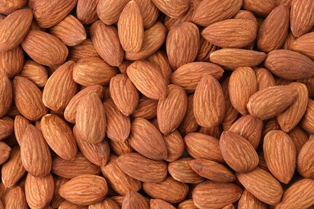 Nahaufnahme geschälte mandelnüsse draufsicht