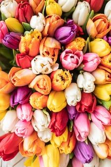 Nahaufnahme groß schöner strauß gemischter tulpen. blumenhintergrund und hintergrundbild. blumengeschäftskonzept. schönes frisch geschnittenes bouquet. blumenlieferung
