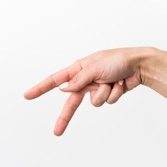 Nahaufnahme hand gestikulierende gebärdensprache