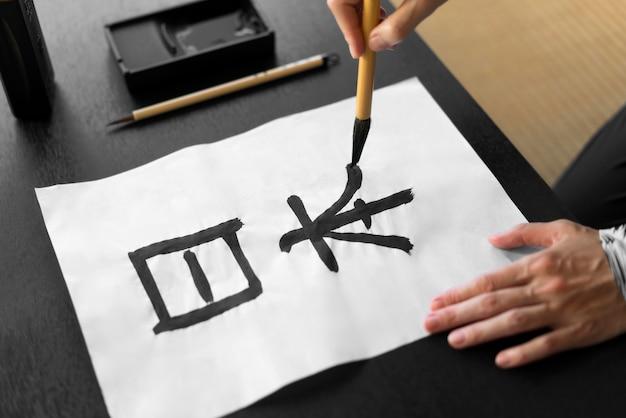 Nahaufnahme handmalerei mit einem pinsel
