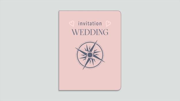 Nahaufnahme-hochzeits-einladungstext und reisepass mit navigieren kompass und herzen, reisehintergrund. eleganter und luxuriöser pastell-3d-illustrationsstil für hochzeit oder romantisches thema