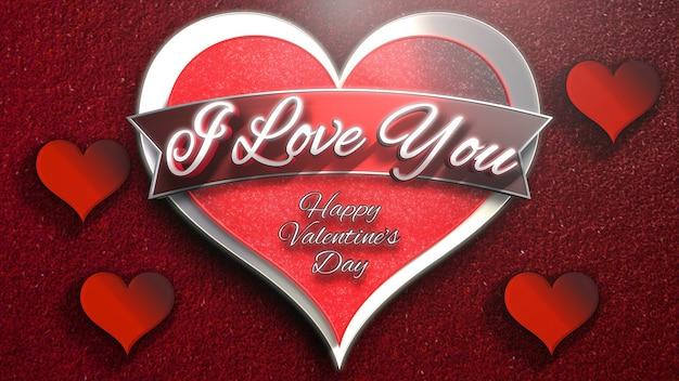 Nahaufnahme ich liebe dich text und romantisches herz am valentinstag glänzenden hintergrund. luxuriöse und elegante 3d-illustration für den urlaub
