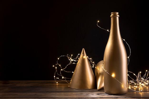 Nahaufnahme jubiläums-champagnerflasche