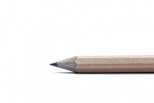 Nahaufnahme-kleiner bleistift-gebrauch für das schreiben, anmerkungen, zeichnungen lokalisiert auf weißem hintergrund