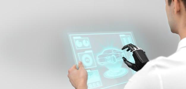 Nahaufnahme mann mit technologischem bildschirm