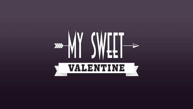 Nahaufnahme mein süßer valentinsgrußtext und bewegungspfeil auf valentinstaghintergrund. luxuriöse und elegante 3d-darstellung im dynamischen stil für den urlaub