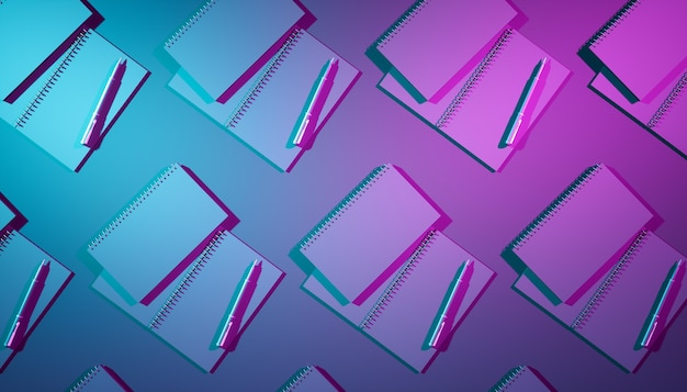Nahaufnahme-notizbuch im ultravioletten licht, 3d illustration