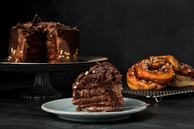 Nahaufnahme schokoladenkuchen