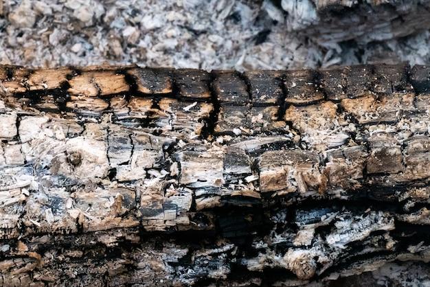 Nahaufnahme schuss von verbranntem holz mit verschwommener asche auf dem boden