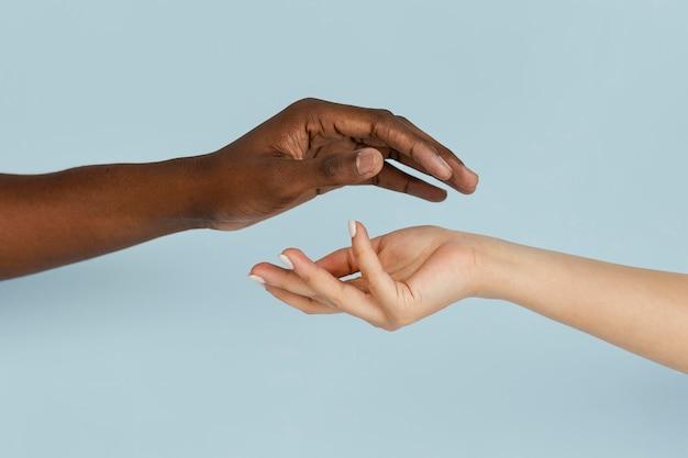 Nahaufnahme schwarzweiss-hand