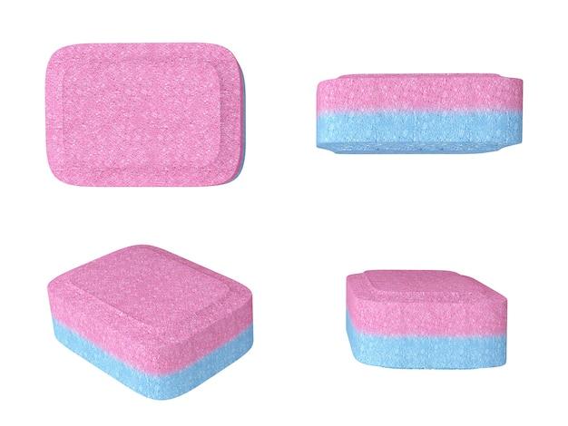 Nahaufnahme-spülmaschinen-tabletten auf weißem hintergrund. 3d-rendering.
