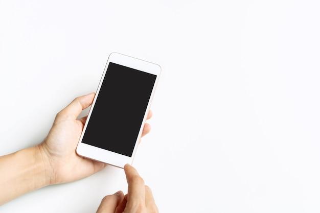 Nahaufnahme studio schoss hand mit smartphone leeren touchscreen