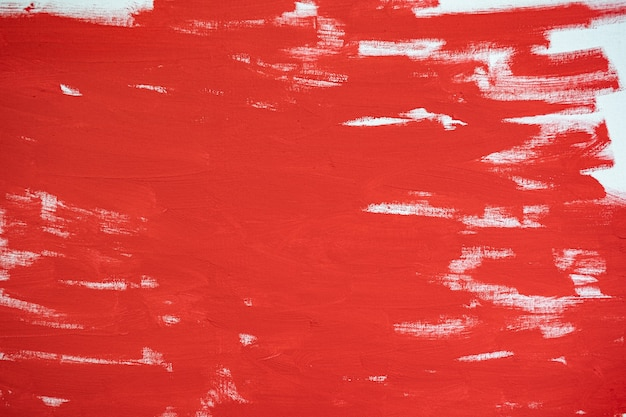 Nahaufnahme textur rote farbe auf weißer leinwand pinselstriche für papiergrafikdesign im hintergrund on