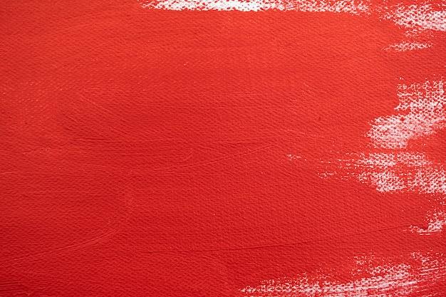 Nahaufnahme textur rote farbe auf weißer leinwand pinselstriche für papiergrafikdesign im hintergrund
