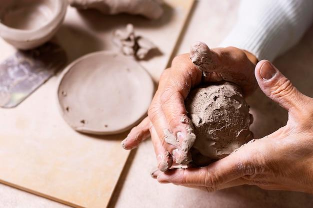 Nahaufnahme ton für keramik