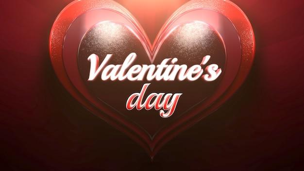 Nahaufnahme-valentinstag-text und romantisches herz auf glänzendem hintergrund der liebe. luxuriöse und elegante 3d-illustration für den urlaub