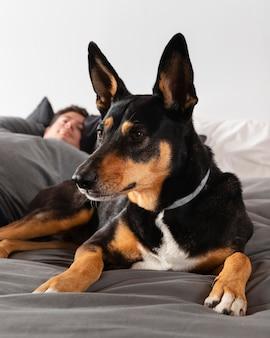 Nahaufnahme verschwommener mann mit hund