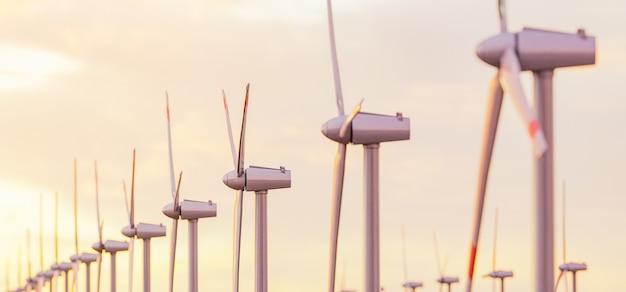 Nahaufnahme vieler windkraftanlagen in einem sonnenuntergang mit unschärfe. 3d-rendering