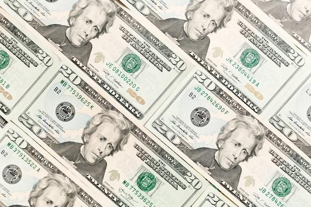 Nahaufnahme von 20 dollarnoten als. amarican dollar muster. draufsicht auf geschäftskonzept