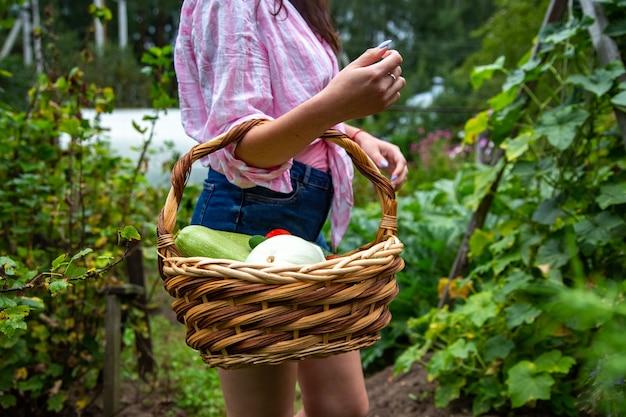 Nahaufnahme von bäuerin mit frisch geerntetem gemüse ohne gesicht
