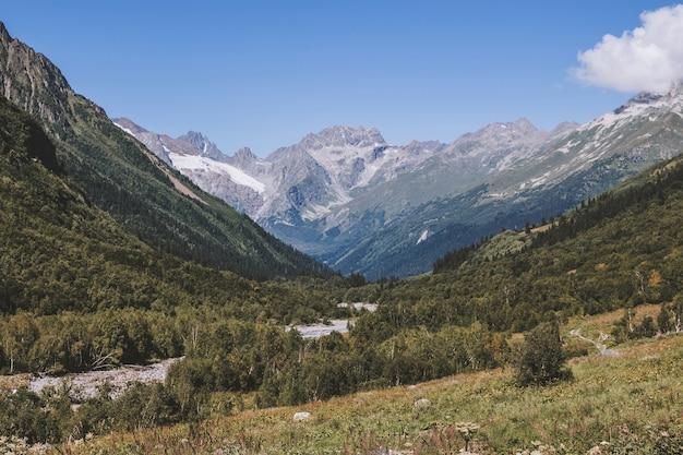 Nahaufnahme von bergen und flussszenen im nationalpark dombay, kaukasus, russland, europa. sommerlandschaft, sonnenscheinwetter, dramatischer blauer himmel und sonniger tag