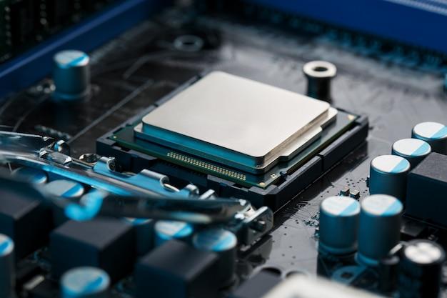 Nahaufnahme von cpu chip processor