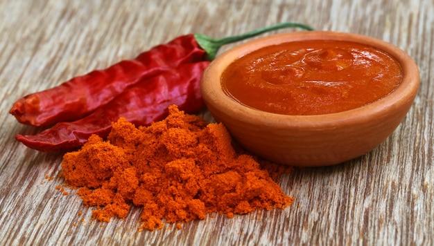 Nahaufnahme von einigen red hot chilis mit pulver und paste
