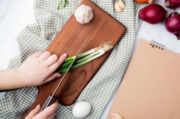 Nahaufnahme von frau hand, die zwiebel auf schneidebrett mit knoblauchei auf stoffoberfläche mit kopienraum schneidet