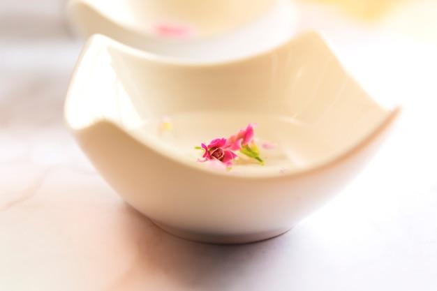 Nahaufnahme von frischen blumenblumenblättern in der schüssel wasser