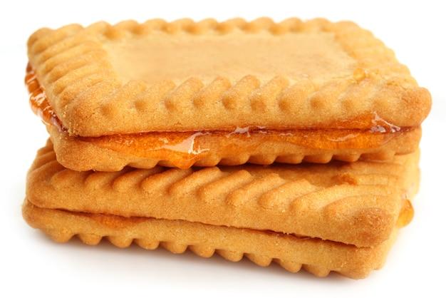 Nahaufnahme von frischen keksen mit gelee
