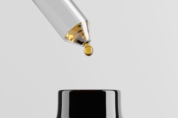 Nahaufnahme von glastropfer und flasche von ätherischen ölen auf weiß