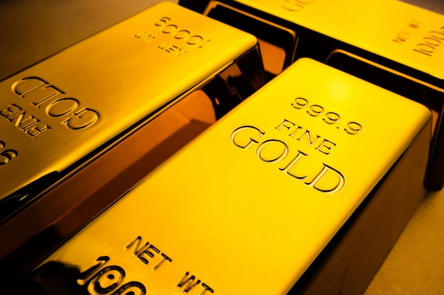 Nahaufnahme von goldbarren. finanzkonzept