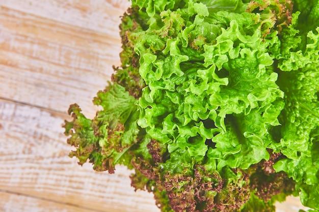 Nahaufnahme von grünem salat. gesunder lebensweise und diät.