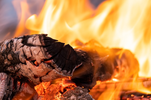 Nahaufnahme von hell brennenden holzstämmen mit gelben heißen feuerflammen in der nacht.