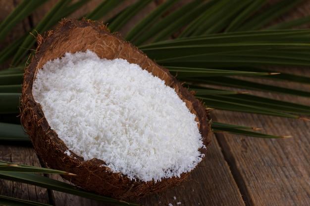 Nahaufnahme von kokosnussflocken
