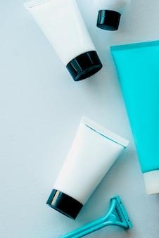 Nahaufnahme von kosmetischen produkten. hautpflege-set