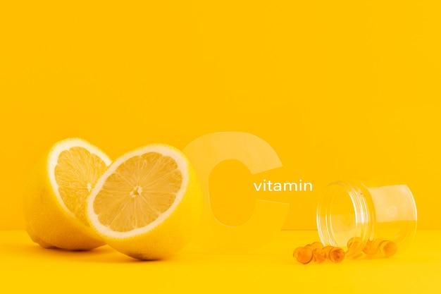 Nahaufnahme von nahrungsergänzungsmitteln mit orange