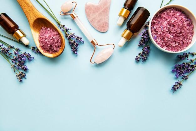 Nahaufnahme von natürlichen bio-spa-kosmetik