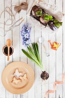 Nahaufnahme von niedlichen schmetterlingsplätzchen auf einer platte und hyazinthenblumen