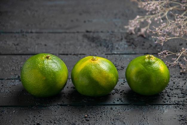 Nahaufnahme von oben drei limetten drei grün-gelbe limetten neben ästen auf dunklem hintergrund