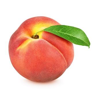 Nahaufnahme von pfirsich mit blatt