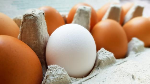 Nahaufnahme von rohen hühnereiern in einer eierschachtel.