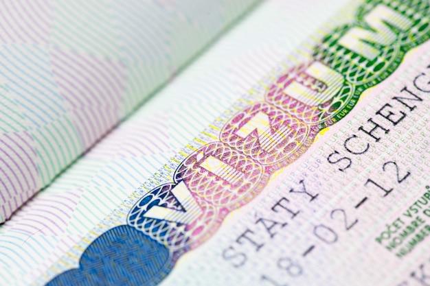 Nahaufnahme von schengen visum