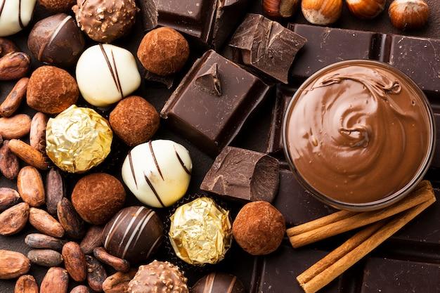 Nahaufnahme von schokolade anordnung