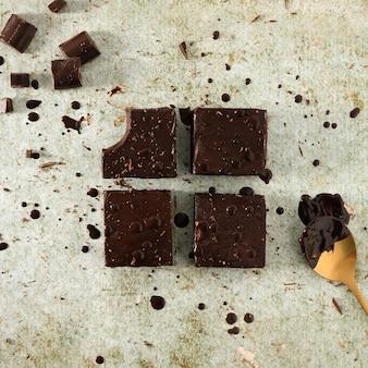 Nahaufnahme von schokoladenbrownies