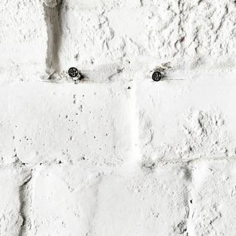 Nahaufnahme von schrauben an der konkreten weißen backsteinmauer