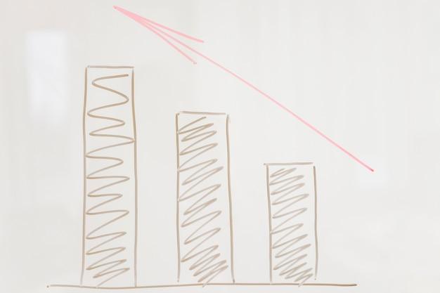 Nahaufnahme von steigenden graphen mit rotem pfeil auf glasbrett
