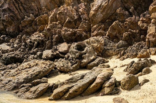 Nahaufnahme von steinen, die am ufer liegen