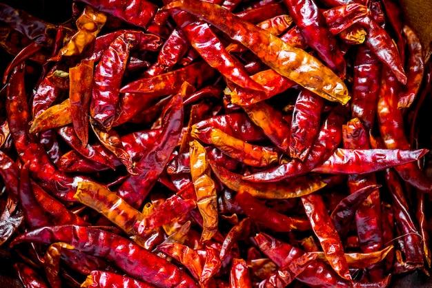 Nahaufnahme von trockenen paprikas