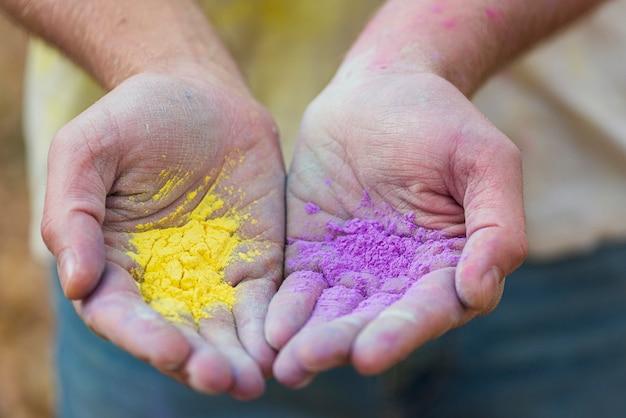 Nahaufnahme von verschiedenen farben für holi festival